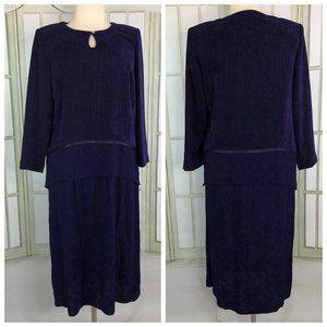 S.L. Fashions Shift Midi Dress Lagenlook Purple